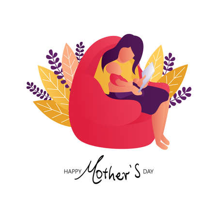 Happy Mother's Day. Flat Illustration of Mother And Baby Reading Book.