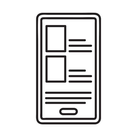 Smartphone icon. Single high quality outline symbol of phone device for web design or mobile app. Thin line signs of education for design logo, visit card, etc. Outline logo of school.
