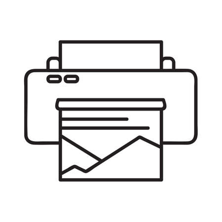 Printer icon. Single high quality outline symbol of printer for web design or mobile app. Thin line signs of education for design logo, visit card, etc. Outline logo of school or office.