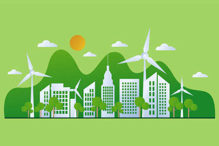 Green City. Go green call for global sustainable development and healthy planet environment. Ecology, recycling and renewable energy social and business movements.