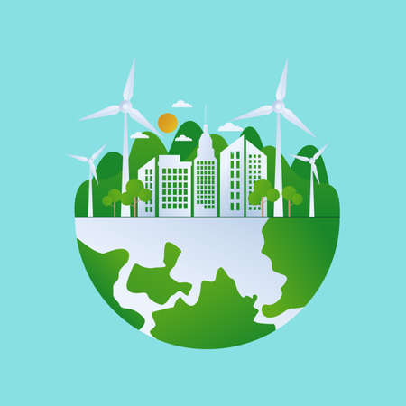 Green Planet Energy. Save the World Together. Green planet with trees and wind turbines. Concept of environmental protection. Stock Illustratie