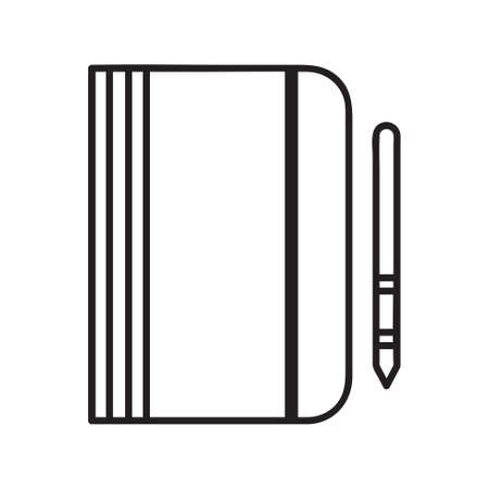 Notebook icon with pen. Vector Illustration of Notebook Icon. Education icon for web and graphic design. Line style logo. Vector illustration. Stock Illustratie