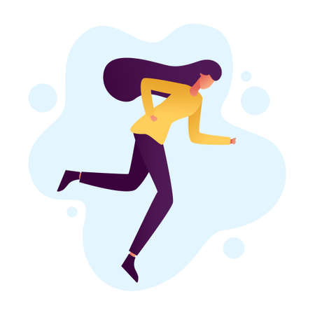 young woman running. Vector illustration with running girl in flat style.
