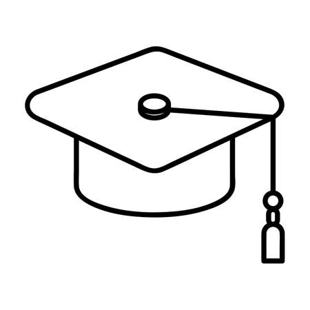 graduation cap icon. Single high quality outline symbol of graduation for web design or mobile app. Thin line signs of education for design logo, visit card, etc. Outline logo of school.