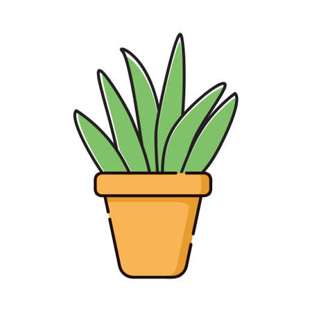 Cartoon green plant in a pot. Houseplant in pots. Green natural decor for home and interior. Objects isolated flower pots, ornamental plant flower pots. Vector illustration. flat icon.