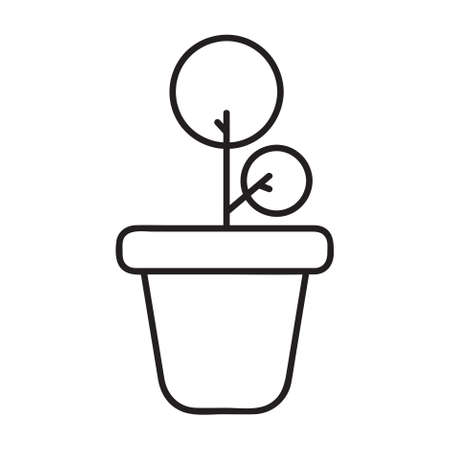Potted plant outline icon. linear style sign for mobile concept and web design. Plant in pot simple line vector icon. Symbol, logo illustration. Pixel perfect vector graphics.