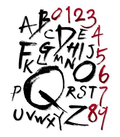 Hand-written font Vectores