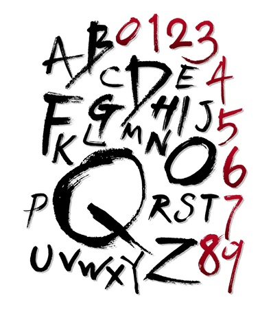 Hand-written font Illustration