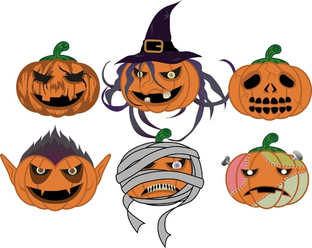Vampire ,Witch ,Mummy ,Frankenstein ,pumpkin ,skull Stock Vector - 9929763