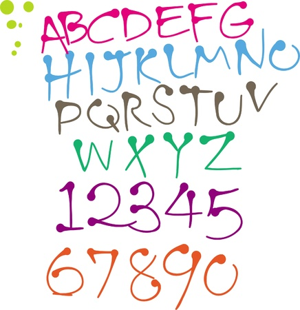 colorful Round pen font Vector
