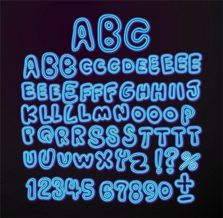 hand written Neon light font Vectores