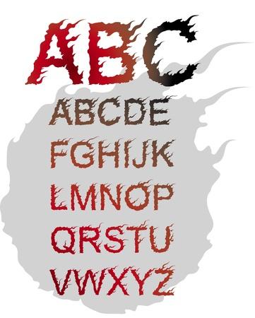 fiery font: Feuer im japanischen Stil Schriftart Illustration