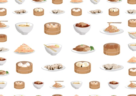 12 chinese food objects,Buns, steamed buns, steamed dumplings, noodles, soup, fried rice Dousha Bao Vector