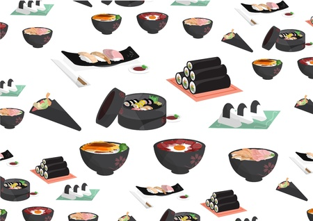 sashimi: japanese foods,Rice balls, sushi, sashimi, hand-rolled, rice bowl
