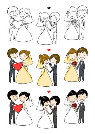 casados: hermosa novia y el novio con 3 acciones