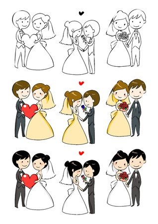 newly wedded couple: lovely bride and groom with 3 actions