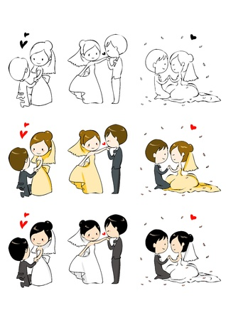 proposal: lovely bride and groom with 3 actions