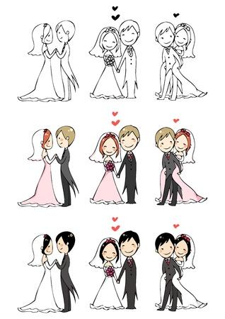to wed: bella sposa e lo sposo con 3 azioni