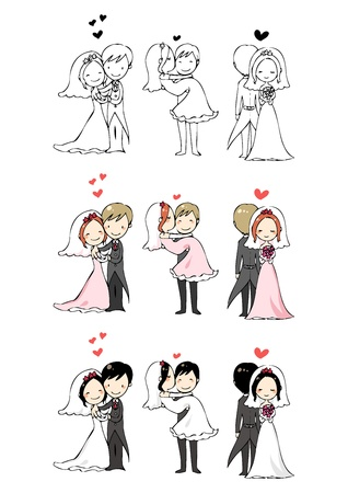 bride groom: lovely bride and groom with 3 actions