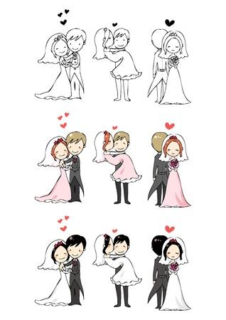 heiraten: schöne Braut und Bräutigam mit 3 Aktionen Illustration