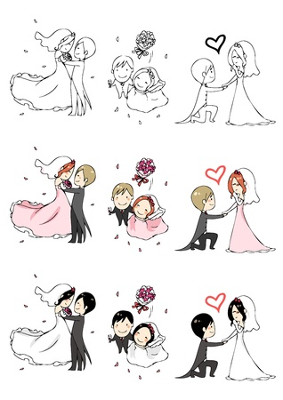 lovely bride and groom with 3 actions