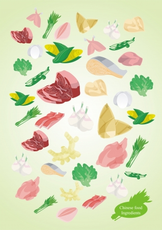 shoots: Chinese food ingredients Illustration