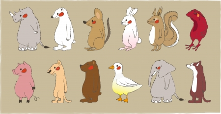 Cute standing animals look to the front Vector