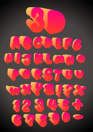 typesetting: 3D funny hand drawn font