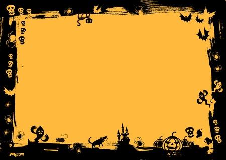 październik: czarna obwódka na żółtym tle na halloween