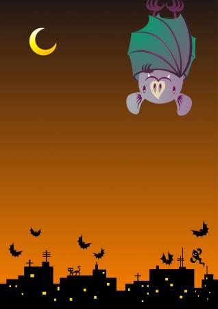 hanging bat at night sky Vector