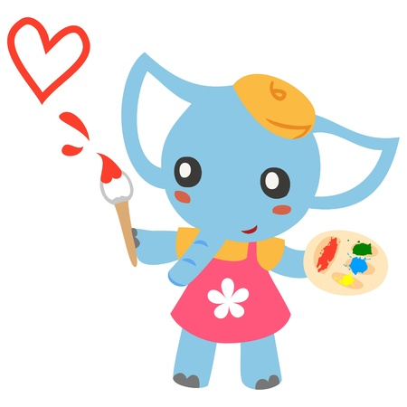 lovely Elephant painter Vector