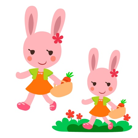 lovely Walking rabbit Vector