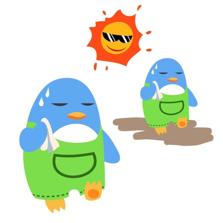 sweat: Penguins in the sunshine Illustration