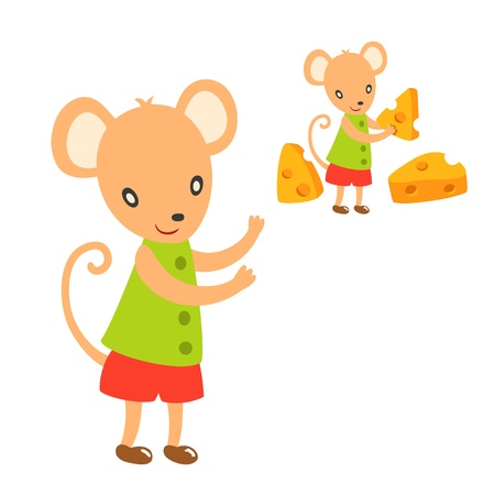 lovely mouse take a cheese Stock Vector - 15206227