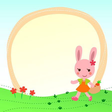 frame with a cute rabbit Vector