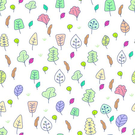 Cute seamless wallpaper with leafs 일러스트
