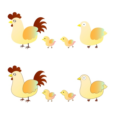 chicken family: cute chicken family
