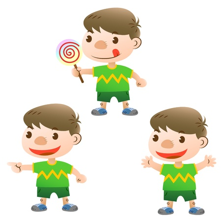 finger licking: cute boy with lollipop and actions Illustration