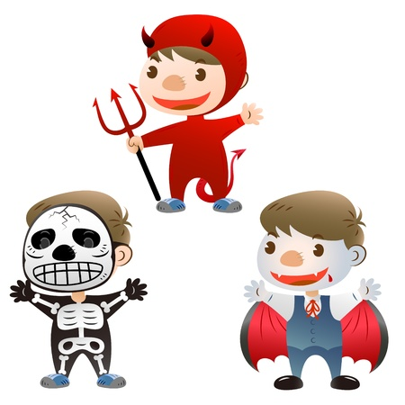 cute boy dress up to devil skull man and Vampire Vector