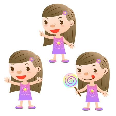 cute girl with lollipop and open arms and pointing