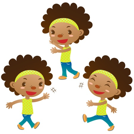 cute black girl showing,walking and swing hand Vector