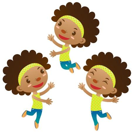 noir mignon fille sauter et danser Vecteurs