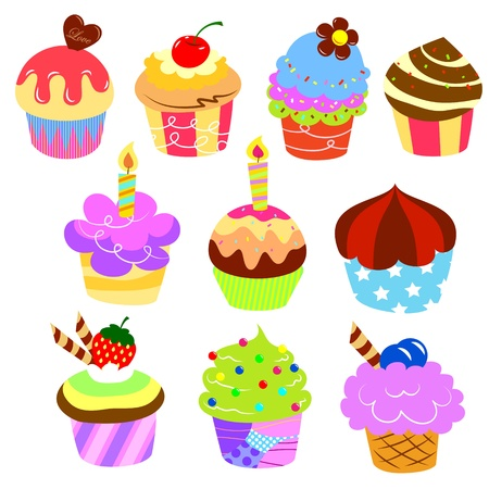 chocolate cupcake: Colorful delicious cakes Illustration