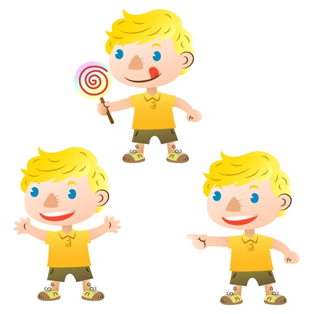 open eye: cute blond boy pointing and holding lollipop
