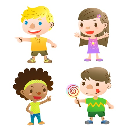 curly hair child: cute kids pointing,open arms and holding a lolly