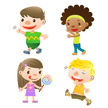 cute kids showing,walking and holding a lolly Vector