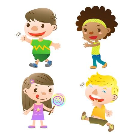 Niedlichen Kinder zeigt, zu Fuß und im Besitz einer lolly Standard-Bild - 16054981