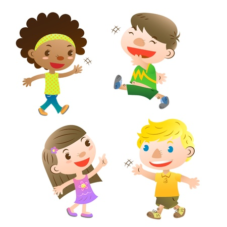constraint: cute kids pointing,walking and greeting