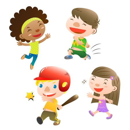 cute kids playing Vector