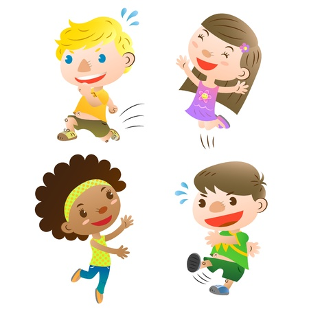 cute kids playing Vectores